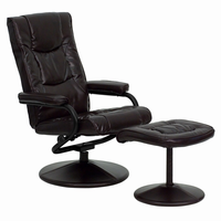 Flash Furniture Contemporary Brown Leather Recliner and Ottoman with Leather Wrapped Base