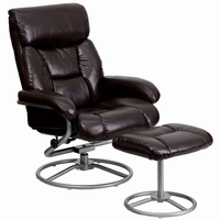 Flash Furniture Contemporary Brown Leather Recliner and Ottoman with Metal Base