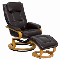 Flash Furniture Contemporary Brown Leather Recliner and Ottoman with Swiveling Maple Wood Base