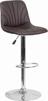 Flash Furniture Contemporary Brown Vinyl Adjustable Height Barstool with Chrome Base