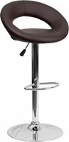 Flash Furniture Contemporary Brown Vinyl Rounded Back Adjustable Height Barstool with Chrome Base