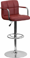 Flash Furniture Contemporary Burgundy Quilted Vinyl Adjustable Height Barstool with Arms and Chrome Base
