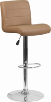 Flash Furniture Contemporary Cappuccino Vinyl Adjustable Height Barstool with Chrome Base