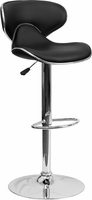 Flash Furniture Contemporary Cozy Mid-Back Black Vinyl Adjustable Height Barstool with Chrome Base