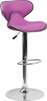 Flash Furniture Contemporary Cozy Mid-Back Purple Vinyl Adjustable Height Barstool with Chrome Base
