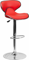 Flash Furniture Contemporary Cozy Mid-Back Red Vinyl Adjustable Height Barstool with Chrome Base