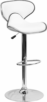 Flash Furniture Contemporary Cozy Mid-Back White Vinyl Adjustable Height Barstool with Chrome Base