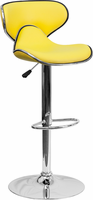Flash Furniture Contemporary Cozy Mid-Back Yellow Vinyl Adjustable Height Barstool with Chrome Base