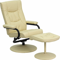 Flash Furniture Contemporary Cream Leather Recliner and Ottoman with Leather Wrapped Base