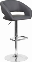 Flash Furniture Contemporary Gray Vinyl Adjustable Height Barstool with Chrome Base