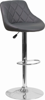 Flash Furniture Contemporary Gray Vinyl Bucket Seat Adjustable Height Barstool with Chrome Base