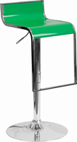 Flash Furniture Contemporary Green Plastic Adjustable Height Barstool with Chrome Drop Frame