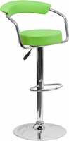 Flash Furniture Contemporary Green Vinyl Adjustable Height Barstool with Arms and Chrome Base