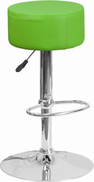 Flash Furniture Contemporary Green Vinyl Adjustable Height Barstool with Chrome Base
