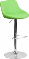 Flash Furniture Contemporary Green Vinyl Bucket Seat Adjustable Height Barstool with Chrome Base