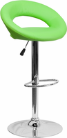 Flash Furniture Contemporary Green Vinyl Rounded Back Adjustable Height Barstool with Chrome Base
