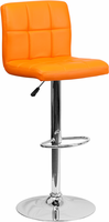 Flash Furniture Contemporary Orange Quilted Vinyl Adjustable Height Barstool with Chrome Base