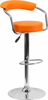 Flash Furniture Contemporary Orange Vinyl Adjustable Height Barstool with Arms and Chrome Base