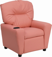 Flash Furniture Contemporary Pink Vinyl Kids Recliner with Cup Holder