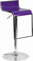 Flash Furniture Contemporary Purple Plastic Adjustable Height Barstool with Chrome Drop Frame