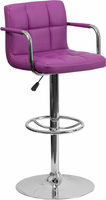 Flash Furniture Contemporary Purple Quilted Vinyl Adjustable Height Barstool with Arms and Chrome Base