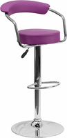 Flash Furniture Contemporary Purple Vinyl Adjustable Height Barstool with Arms and Chrome Base