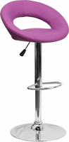 Flash Furniture Contemporary Purple Vinyl Rounded Back Adjustable Height Barstool with Chrome Base