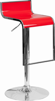 Flash Furniture Contemporary Red Plastic Adjustable Height Barstool with Chrome Drop Frame