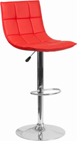 Flash Furniture Contemporary Red Quilted Vinyl Adjustable Height Barstool with Chrome Base