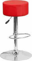 Flash Furniture Contemporary Red Vinyl Adjustable Height Barstool with Chrome Base