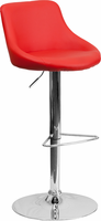 Flash Furniture Contemporary Red Vinyl Bucket Seat Adjustable Height Barstool with Chrome Base