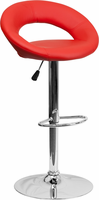 Flash Furniture Contemporary Red Vinyl Rounded Back Adjustable Height Barstool with Chrome Base