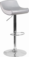 Flash Furniture Contemporary Silver and White Adjustable Height Plastic Barstool with Chrome Base