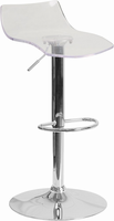 Flash Furniture Contemporary Transparent Acrylic Adjustable Height Barstool with Chrome Base