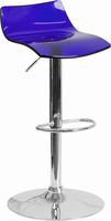 Flash Furniture Contemporary Transparent Blue Acrylic Adjustable Height Barstool with Chrome Base