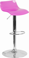 Flash Furniture Contemporary Transparent Hot Pink Acrylic Adjustable Height Barstool with Chrome Base