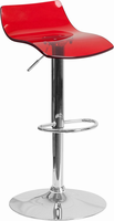 Flash Furniture Contemporary Transparent Red Acrylic Adjustable Height Barstool with Chrome Base