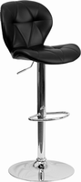 Flash Furniture Contemporary Tufted Black Vinyl Adjustable Height Barstool with Chrome Base