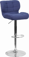 Flash Furniture Contemporary Tufted Blue Fabric Adjustable Height Barstool with Chrome Base