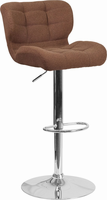 Flash Furniture Contemporary Tufted Brown Fabric Adjustable Height Barstool with Chrome Base