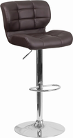 Flash Furniture Contemporary Tufted Brown Vinyl Adjustable Height Barstool with Chrome Base
