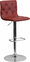 Flash Furniture Contemporary Tufted Burgundy Vinyl Adjustable Height Barstool with Chrome Base
