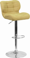 Flash Furniture Contemporary Tufted Citron Fabric Adjustable Height Barstool with Chrome Base
