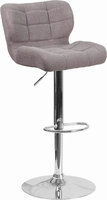 Flash Furniture Contemporary Tufted Gray Fabric Adjustable Height Barstool with Chrome Base