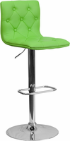 Flash Furniture Contemporary Tufted Green Vinyl Adjustable Height Barstool with Chrome Base
