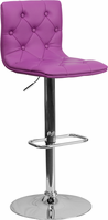 Flash Furniture Contemporary Tufted Purple Vinyl Adjustable Height Barstool with Chrome Base