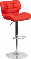 Flash Furniture Contemporary Tufted Red Vinyl Adjustable Height Barstool with Chrome Base