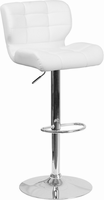 Flash Furniture Contemporary Tufted White Vinyl Adjustable Height Barstool with Chrome Base