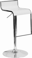 Flash Furniture Contemporary White Plastic Adjustable Height Barstool with Chrome Drop Frame