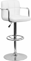 Flash Furniture Contemporary White Quilted Vinyl Adjustable Height Barstool with Arms and Chrome Base